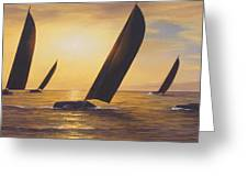 Into The Sunset - Panoramic  Greeting Card by Diane Romanello