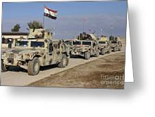 Iraqi Army Soldiers Aboard M1114 Humvee Greeting Card