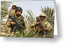 Iraqi Soldiers Conduct A Foot Patrol Greeting Card