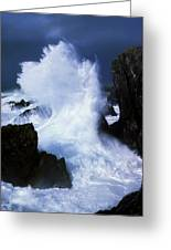 Ireland, Waves Crashing On Rocks Greeting Card