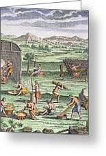 Iroquois Village, 1664 Greeting Card