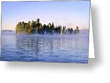 Island In Lake With Morning Fog Greeting Card