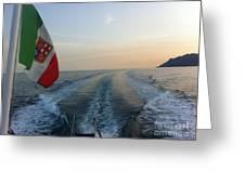 Italian Flag On Boat Off Amalfi Greeting Card