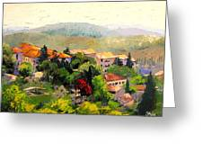 Italian Hillside Village Oil Painting Greeting Card