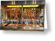 Italian Market Butcher Shop Greeting Card by John Greim
