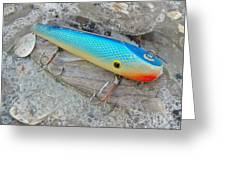 J And J Flop Tail Vintage Saltwater Fishing Lure - Blue Greeting Card
