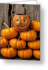 Jack-o-lantern On Stack Of Pumpkins Greeting Card