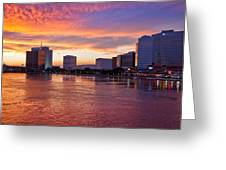 Jacksonville Skyline At Dusk Greeting Card by Debra and Dave Vanderlaan