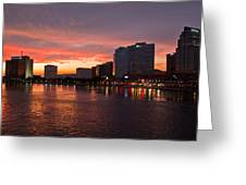 Jacksonville Skyline Night Greeting Card