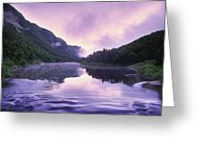 Jacques-cartier River And Mist At Dawn Greeting Card