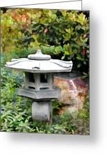 Japanese Garden Stone Snow Lantern Greeting Card