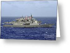 Jds Atago Sails In Formation With U.s Greeting Card