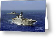 Jds Hyuga Sails In Formation With U.s Greeting Card