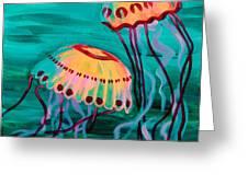 Jellyfish In Green Water Greeting Card