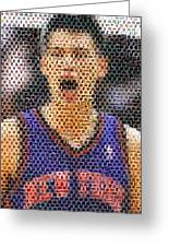 Jeremy Lin Mosaic Greeting Card by Paul Van Scott