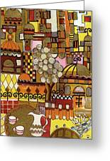 Jerusalem Alleys Tall 5  In Red Yellow Brown Orange Green And White Abstract Skyline Landscape   Greeting Card
