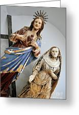 Jesus Christ And Saint Statues In Church Greeting Card