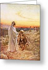 Jesus Withe The One Leper Who Returned To Give Thanks Greeting Card