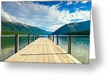 Jetty Of A Beautiful Lake  Greeting Card