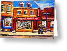 Jewish Montreal Vintage City Scenes Moishes St. Lawrence Street Greeting Card