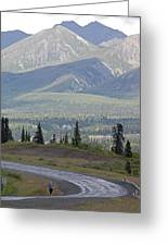 Jogger On The Glenn Highway And Chugach Greeting Card