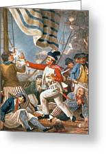 John Paul Jones Shooting A Sailor Who Had Attempted To Strike His Colours In An Engagement Greeting Card