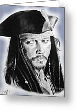 Johnny Depp As Captain Jack Sparrow In Pirates Of The Caribbean II Greeting Card