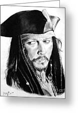 Johnny Depp As Captain Jack Sparrow In Pirates Of The Caribbean Greeting Card