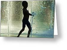 Joyful Child In The Water Fountain Greeting Card