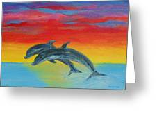 Jumping Dolphins Left Greeting Card