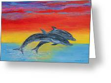 Jumping Dolphins Right Greeting Card