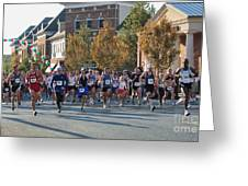 Just After The Gun At A Running Race On A Town Street Greeting Card