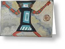 K Is For Kachina Detail From Childhood Quilt Painting Greeting Card