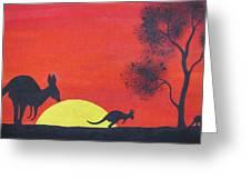 Kangaroo Sunset  Greeting Card