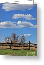 Kansas Country Wooden Fence With Blue Sky And Cloud's Greeting Card