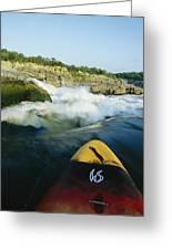 Kayak Noses Its Way Toward A Waterfall Greeting Card