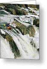 Kayaker At The Top Of A Waterfall Greeting Card