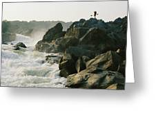 Kayaker Carries Boat Up The Rocks Greeting Card