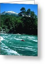 Kayaker Surfing Terminator Rapid Waves Greeting Card