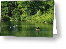 Kayakers Paddle In The Headwaters Greeting Card