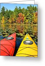 Kayaks In The Fall Greeting Card