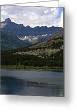 Kayaks On Swiftcurrent Lake Greeting Card