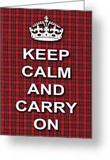 Keep Calm And Carry On Poster Print Red Black Stripes Background Greeting Card