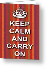 Keep Calm And Carry On Poster Print Red Purple Stripe Background Greeting Card