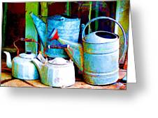 Kettles And Cans To Water The Garden Greeting Card