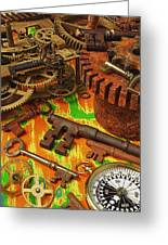 Keys Gears And Compass Greeting Card