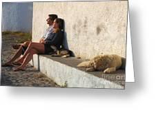 Kicking Back In Greece Greeting Card