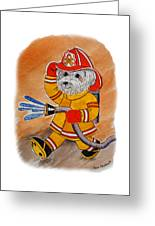 Kids Art Firedog Firefighter  Greeting Card
