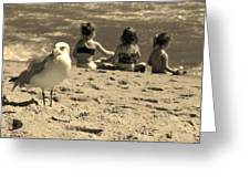 Kids On The Beach - Sepia Greeting Card