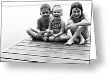 Kids Sitting On Dock Greeting Card